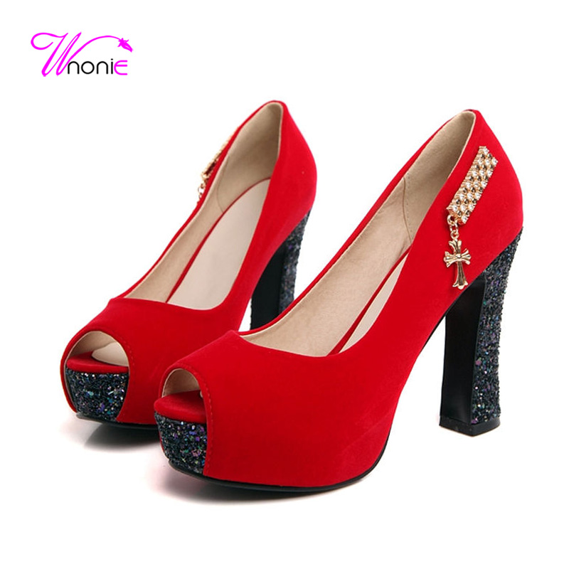 ФОТО 2017 Fashion Women Pumps High Thick Heels Opent Toe Flock Blings Spring Summer Autumn Sexy Dress Party Wedding Blue Ladies Shoes