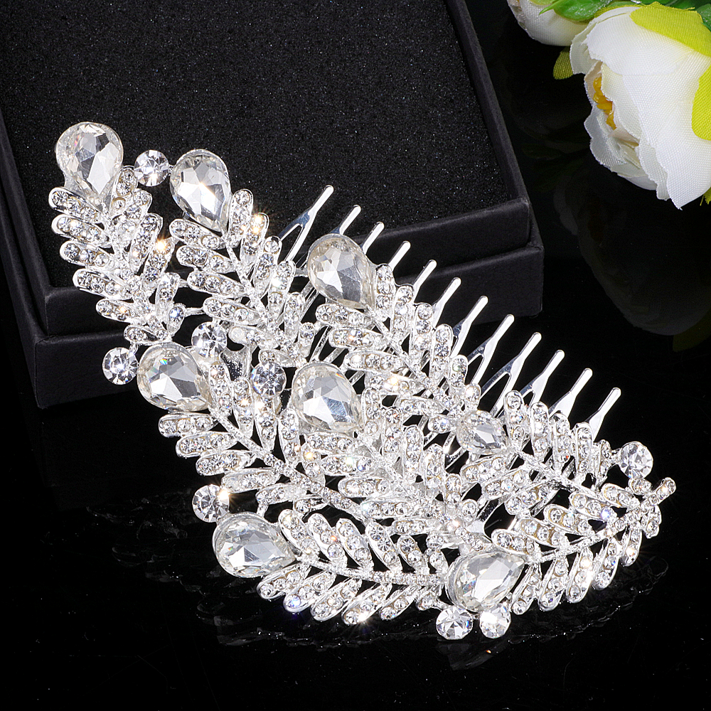 us $4.68 40% off|gorgeous bridal wedding hair accessories silver color big crystal leaf hair combs hairpins wedding hair jewelry for women wx027-in
