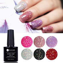 UR SUGAR Rainbow Holographic Nail Gel Polish Colorful UV LED Shimmer Lukisan Gel Lacquer Rendam Off 7.5 ML Manicure Untuk Nail Art