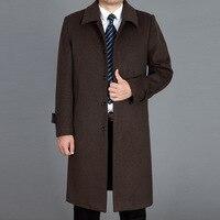 מעיל Mens מעיל צמר תערובת מעיל בסגנון בריטי גברים פנאי גברים מעיל צמר ארוך גברים גודל