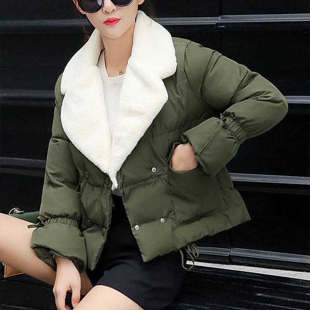 Novo estilo coreano mulheres jaqueta de inverno gola de pele de manga longa algodão quente casaco de inverno parkas plus size para baixo casacos manteau femme