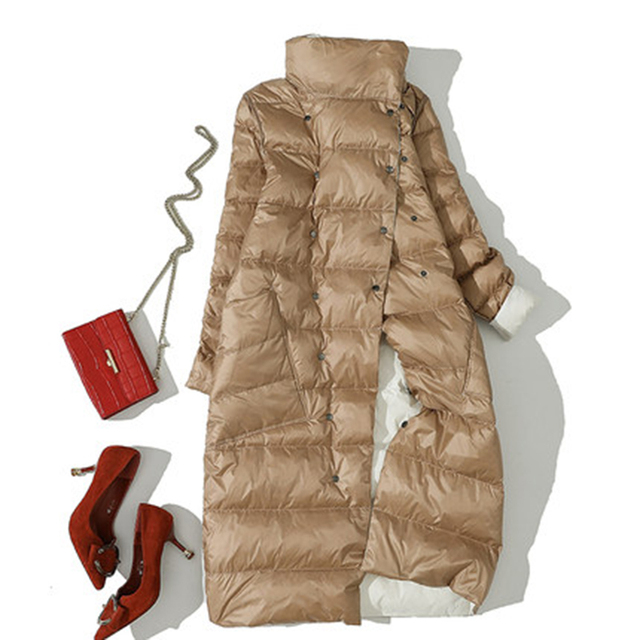 Autumn Winter Women Double Side Wear Down Jacket 90% White Duck Down Coats Parkas Female Casual Fashion Long Down Coats Outwears 6