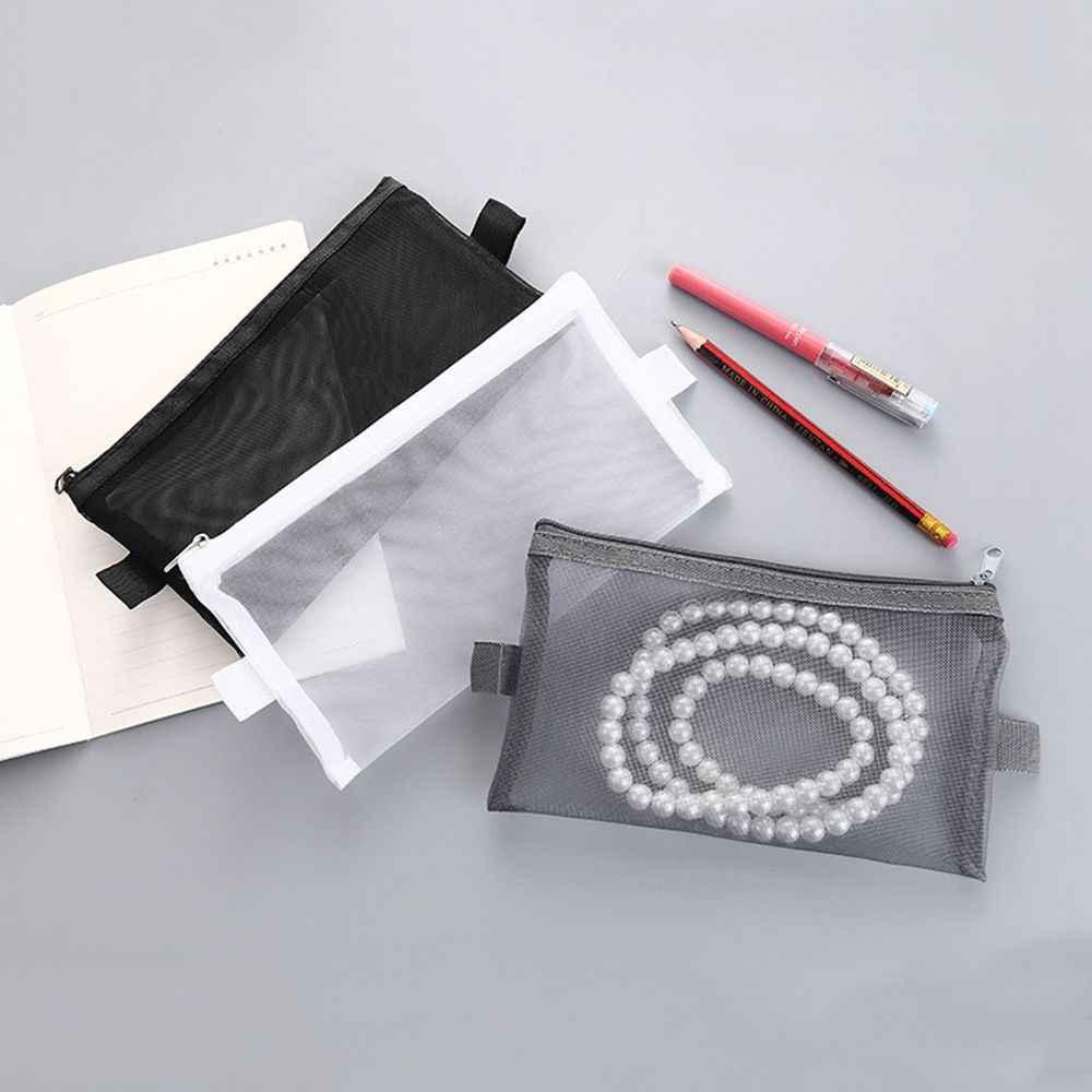Simple maille transparente porte-crayon bureau étudiant porte-crayon s Nylon Kalem Kutusu fournitures scolaires stylo boîte étudiant cadeau