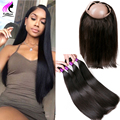 3 Bundles Deal 360 Frontal With Bundle Human Hair and Closure 360 Lace Frontal With Bundle Malaysian Straight Hair With Closure