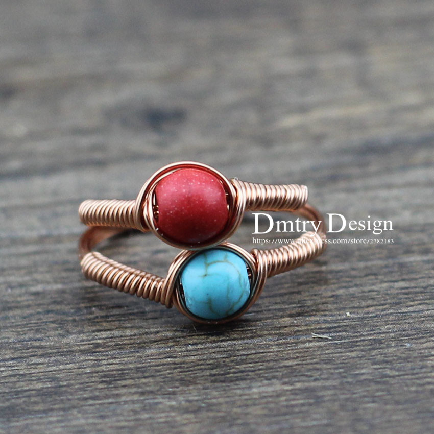 Dmtry Design Brand New Natural Stone Copper Wire Wrap Women Female Wedding Engagement Ring Birthday Black Friday Gift CR0027