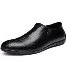 Mænd Casual Portable Breathable Doug Single Sko, Korean Style Ægte Læder Pegede Tå Teengers Flats Loafers Skostørrelse 37-46