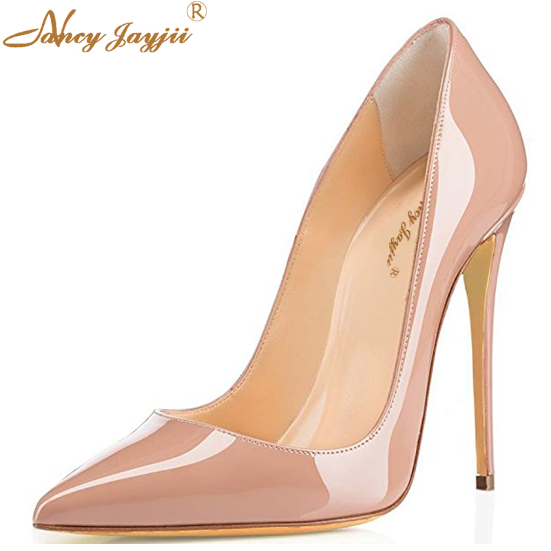 Sexy Nude Thin High Heels Pointy Toe Pumps Gradient Genuine Leather Elegant Women 120 100 80