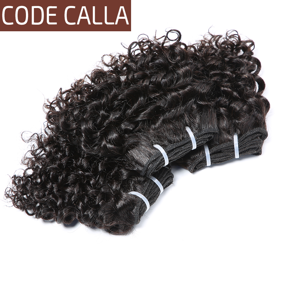 Code Calla Short-cut Human Hair Pre-Colored Raw Virgin Bundles Double Drawn Brazilian Kinky Curly Weave 6 PCS Can Make A Wig(China)