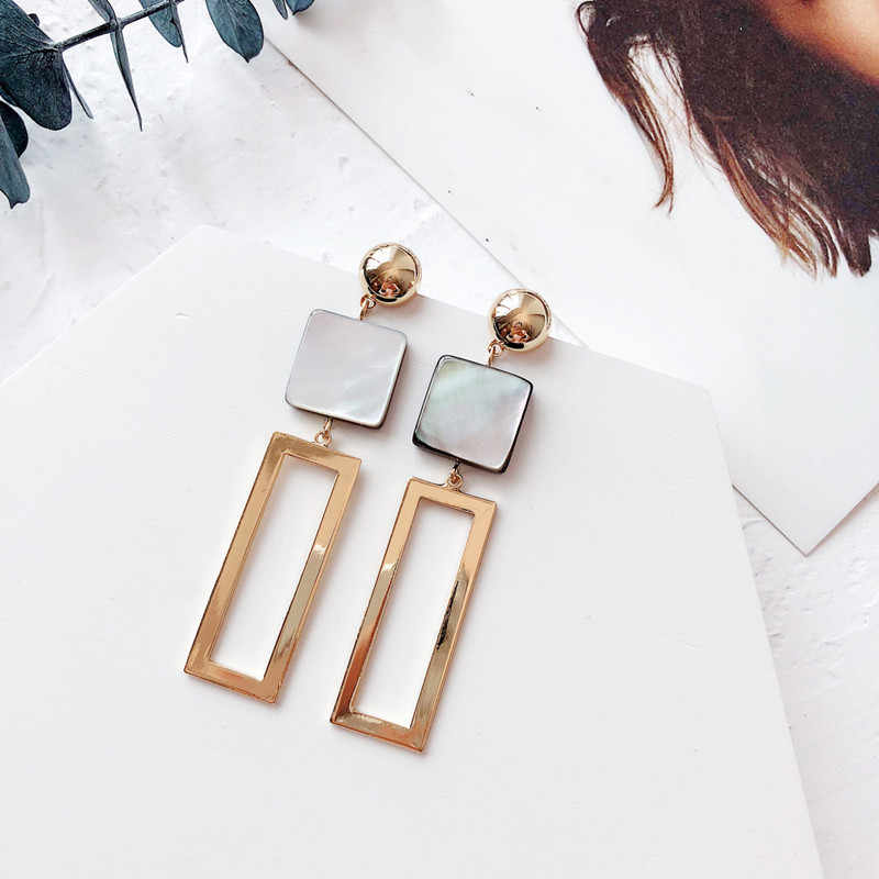 Dominated 2019 Vintage Shell Geometric Metal Women earrings Long-style Temperament Personality joker Drop earrings