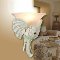 Decorative Elephant Head Wall Lamp Antique LED Wall Sconce Aisle Living Room Dinningroom Wall Light Study