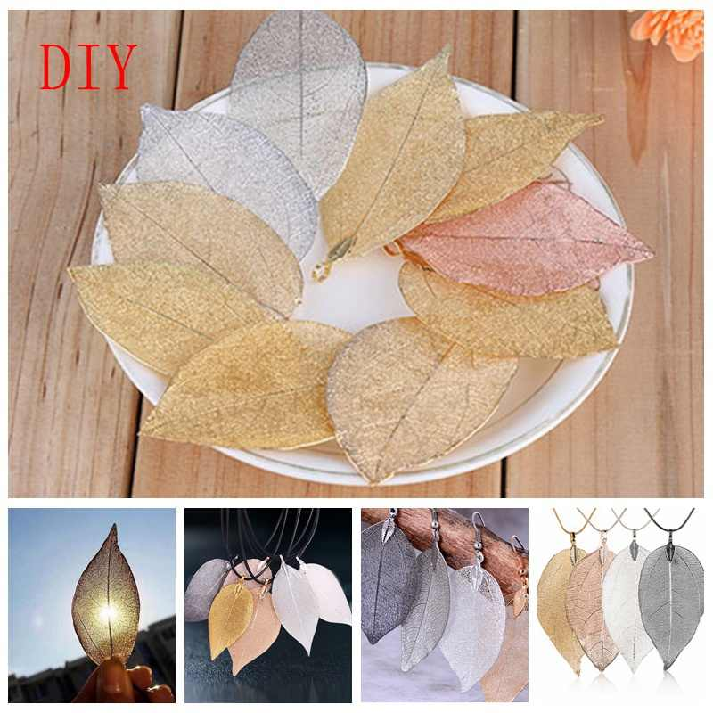 Charms DIY Unique Natural Real Leaves Leaf Pendants for Necklace Earrings Women Girls Jewelry oorbellen hangers pendientes Z45