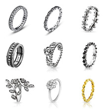 9 Style 925 Sterling Silver Ring with Crystal Flower Wedding Ring Fit Women Pandora Jewelry