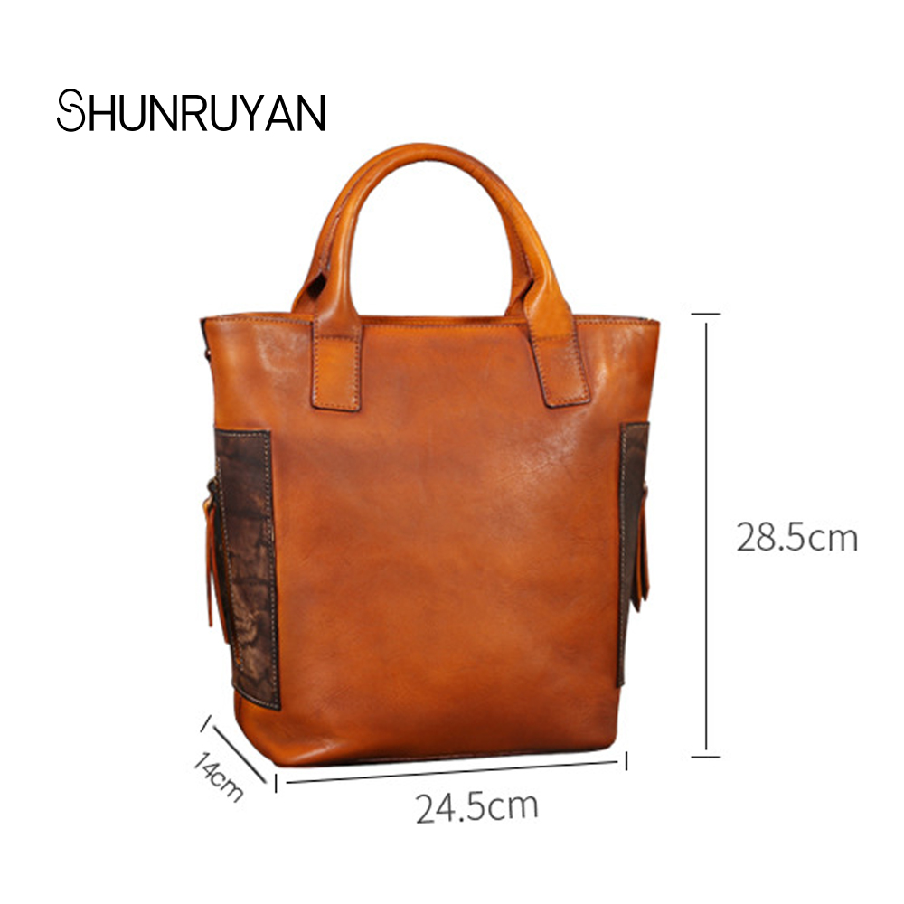 SHUNRUYAN Real Cow Leather Women Handbags Famous Designer Brand Women Shoulder Bags Female messenger bag Tote bags oln brand designer women s shoulder bag genuine leather handbags for female real cow women messenger bags ladies tote bags