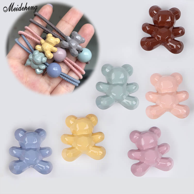 Korean Fashion Jewelry Cream Bear Beads DIY Accessory Homemade Hair Ornament New Delicate Kids Girl Head Rope