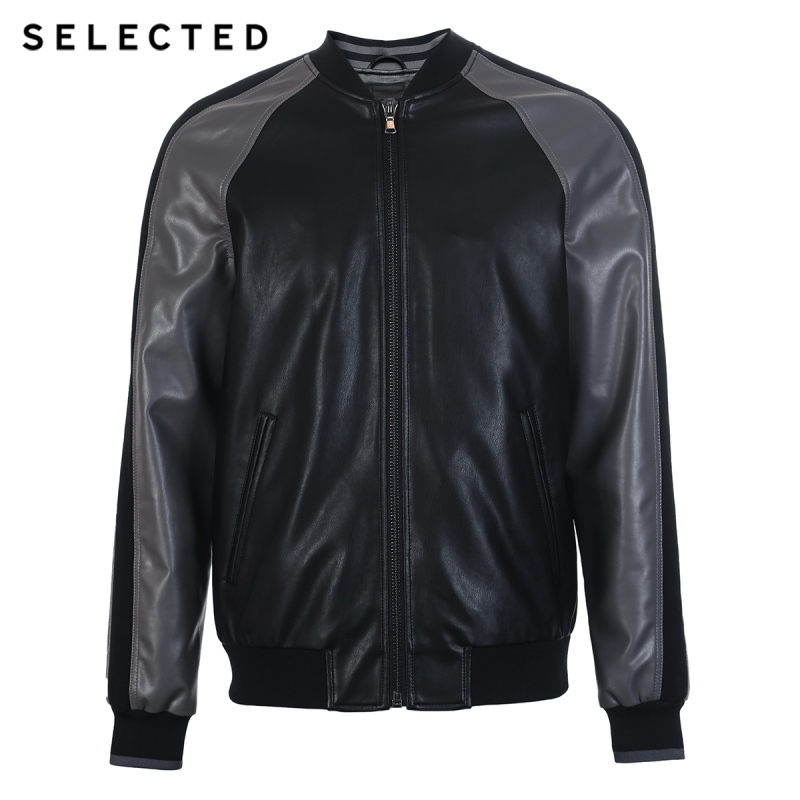 SELECTED Men's Leather Jacket Baseball Collar Splice Color PU Jacket S|4191P3510