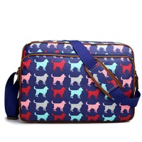 European and American Style women men adorable dog print Stylish matte oilcloth messenger bag A4 notebook bags cross body bags