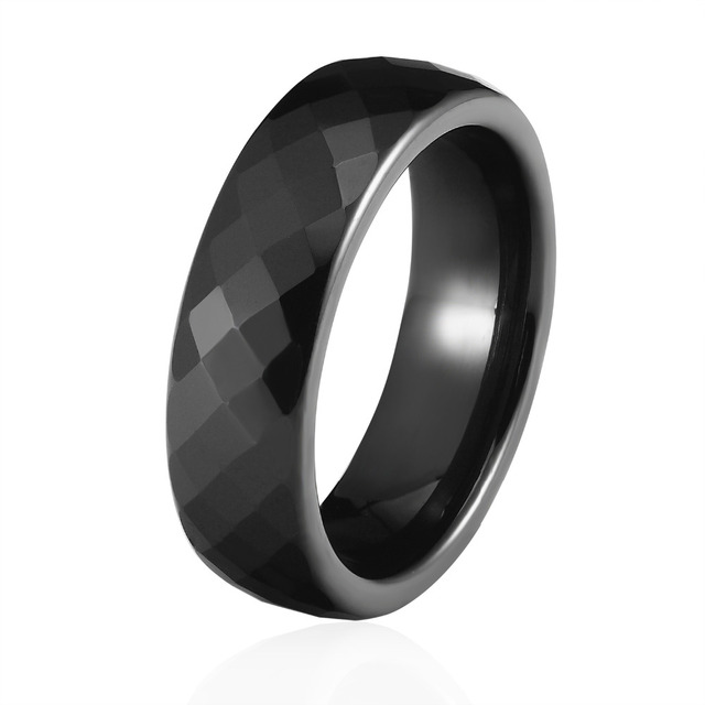 New Arrival Wide 4mm And 6mm Black And White Color Multiple Sections Ceramic Rin