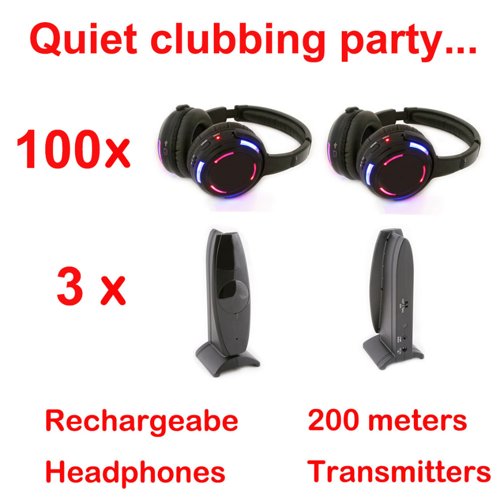 Silent Disco complete system black led wireless headphones - Quiet Clubbing Party Bundle (100 Headphones + 3 Transmitters)