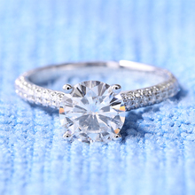 TRANSGEMS 2ct Carat Lab Grown Moissanite Diamond Engagement Wedding Rings Solid 14K White Gold Real Diamond Accents for Women