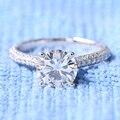 TRANSGEMS Carat Lab Grown Moissanite 2ct Anéis De Casamento Sólido 14 K Ouro Branco de Noivado de Diamante Verdadeiro Diamante Acentos para As Mulheres