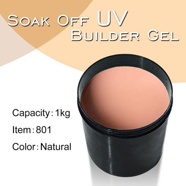 #801 canni 1 kg forte builder gel extensão francês branco 25 cores embeber fora uv claro construtor gel