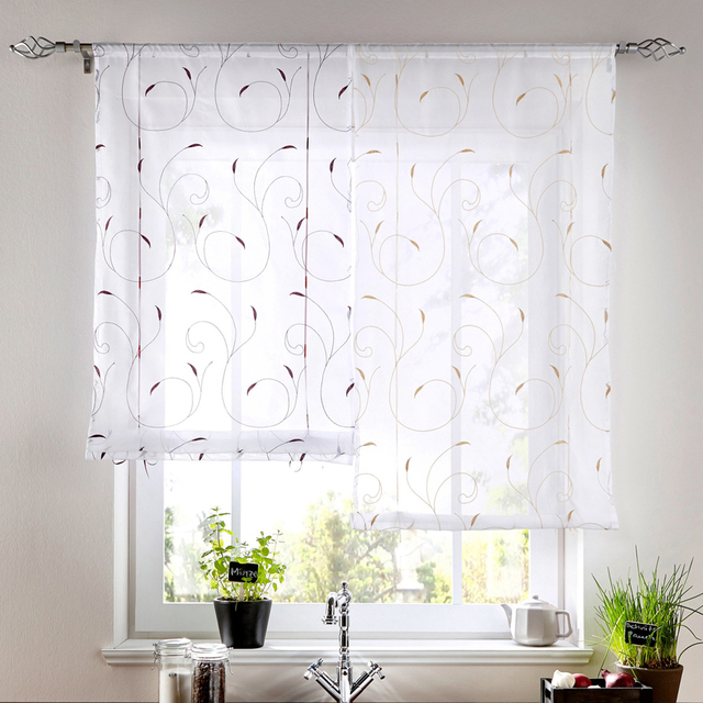 European Style Roman Shade Embroidery Window Voile Sheer Tab Top Curtain Bonprix Brand Pattern