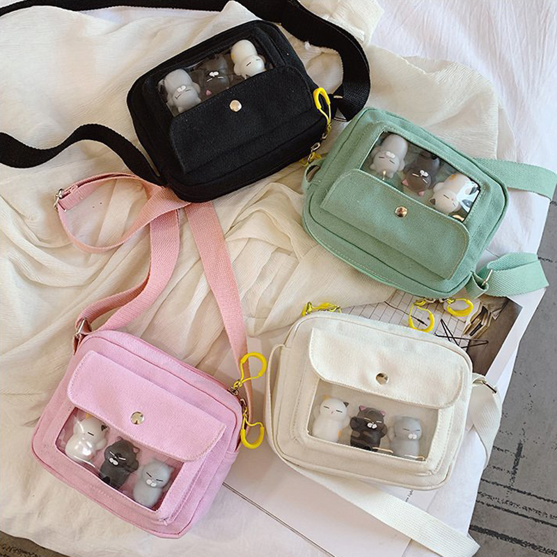 Transparent Bags For Women Crossbody Bags Shoulder Bags Canvas Cartoon 2019 New Fashion Handbags Female Zipper Messenger Bags