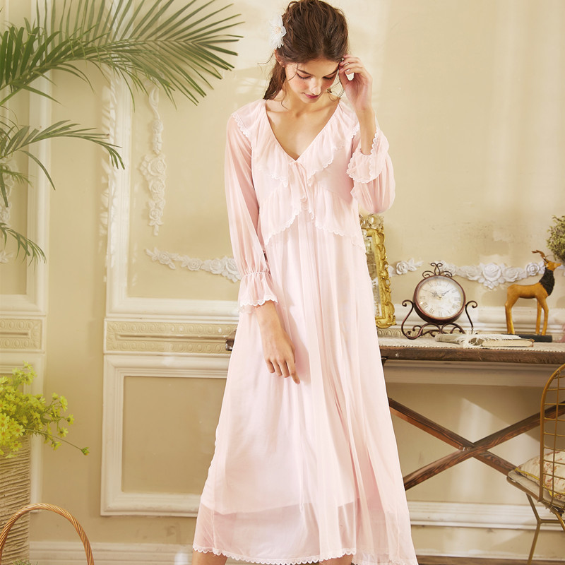 Nightgowns     Sleepshirts   2019 Lace Sleepwear Sexy Home Dress V Neck White Pink Nightdress Modal Sleep & Lounge   Nightgown   Female