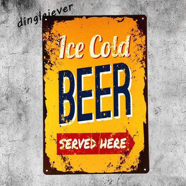 Ice Cold Beer Served Here Metal Sign Bar Art Poster Vintage Drip Tray Man Cave Signs And Decor