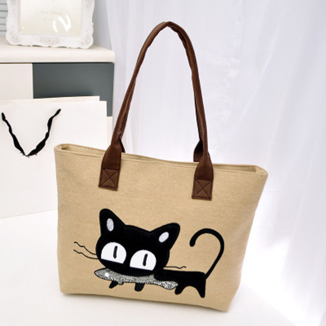 New 2016 Fashion Lady Handbags Canvas Shoulder Bags Casual Style for Women  Cute Cat Zipper Shopping bags Large Tote Bag 7e1b09791
