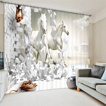 Black white horse painting Blackout Curtains Living Room hotel Drapes Cortians Sunshade Window Curtain 3D Curtains