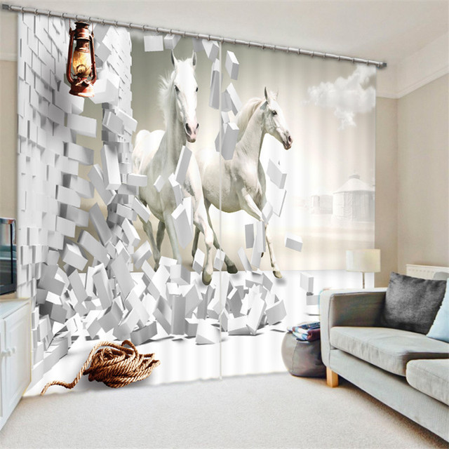 black and white curtains for living room hardwood flooring sunken horse painting blackout hotel drapes cortians sunshade window curtain 3d