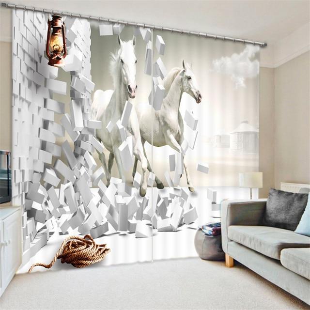 zwart wit paard schilderen verduisteringsgordijnen woonkamer hotel gordijnen cortians zonnescherm gordijn 3d gordijnen