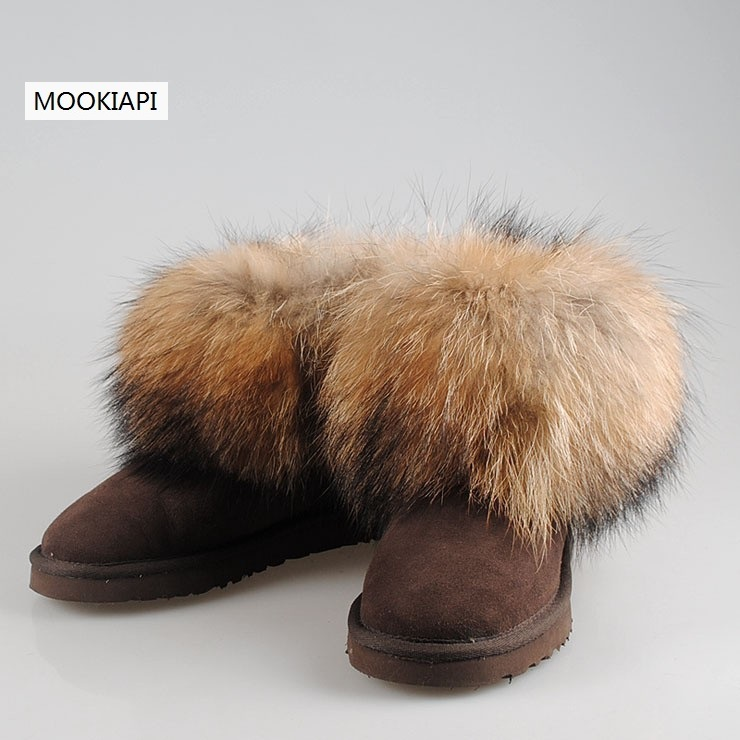 2019 شحن مجاني! العلامة التجارية الطبيعي الفراء الغنم وفوكس الصوف الشتاء الدافئة الثلوج أحذية حريمي برقبة ، 7 ألوان-في أحذية منتصف ربلة الساق من أحذية على  مجموعة 1