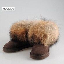 2019 شحن مجاني! العلامة التجارية الفراء الطبيعي جلد الغنم والثعلب الصوف الشتاء حذاء الثلج عالي الرقبة دافئ النساء الأحذية ، 7 colors