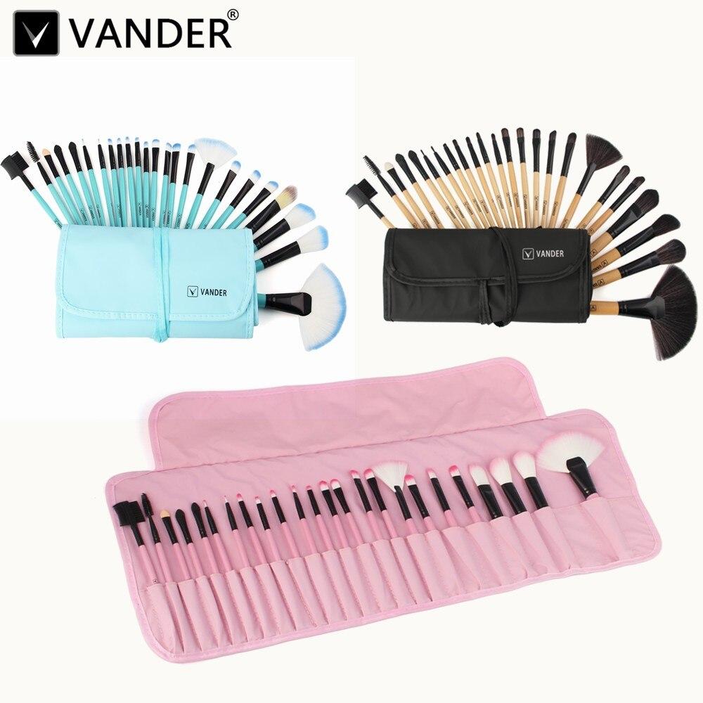 Vander Pro 24 pcs Maquillage Brosses Brushing Ensemble Beauté Cosmétiques Sourcil Ombre Lèvre Visage Poudre Pincel Maquiagem Outils + Pochette sac