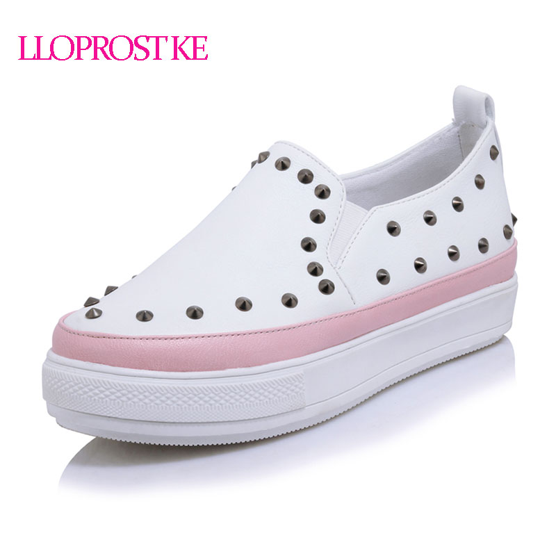 LLOPROST KE Elegant Loafers Shoes Women Casual Rivet Round toe Shoes Woman Fashion Platform Heels Med Heel Ladies Shoes ZZ035 2017 shoes women med heels tassel slip on women pumps solid round toe high quality loafers preppy style lady casual shoes 17