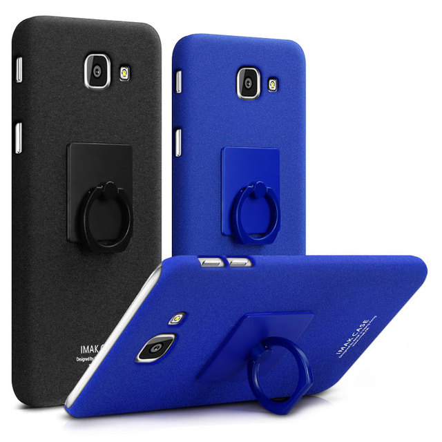 online store 3d3f1 6215e IMAK Contracted Frosted Cowboy Quicksand Back Cover Case For Samsung Galaxy  A5 2017 A5200 with Ring Holder Free Screen Protector-in Fitted Cases from  ...