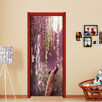 Nm09 Chinese Style Dream Peacock Princess Door Corridor Porch Stickers 3D Simulation Decorative Wall Stickers 2
