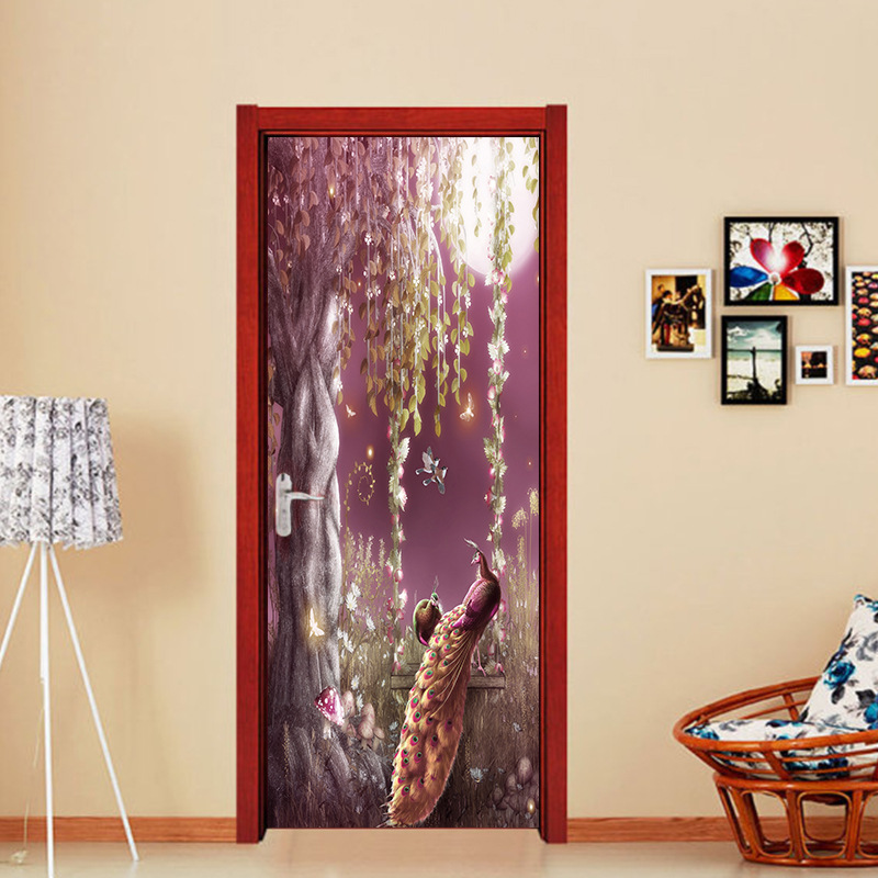nm09 Chinese style dream peacock princess door corridor porch stickers 3D simulation decorative wall stickers 2 pcs/set