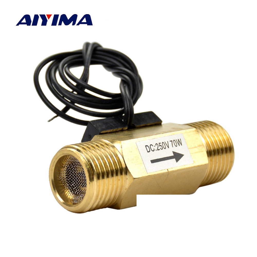 Aiyima DC250V 70W G1/2 Full-copper Water Flow Sensor Witch Meter Air Flow Switch DN15 mj db32 g1 1 4 use for hot water project water circulation with high accuracy air flowswitch mass air flow sensor flow switch