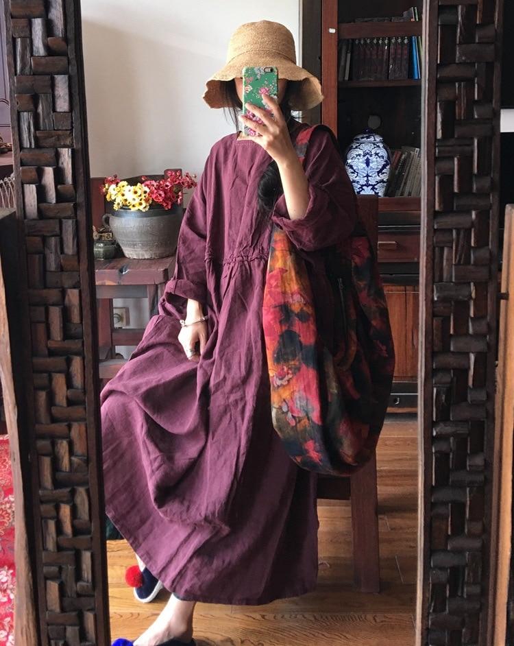 Femmes Pur red Distributeur Fourrure Lâches Pendule Lin N040 Red Nourriture Laver Taille Grande D'origine Bat De Robes tranchant Épaississement 2019 Coffee À RA7q6wEAx