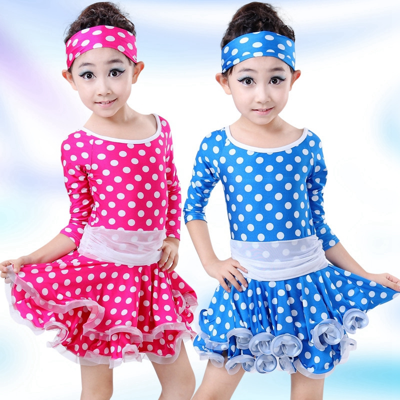 Children's Polka Dot Latin Gymnastics Tap Dance Dress Ball Gown Leotard Skate Dresses Girls Performance Dancewear Costumes kids dresses for girls girl dress free shipping2010 fashion dance dress performance wear leotard 085 hair accessory oversleeps