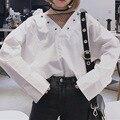[Soonyouor] реальный выстрел 2017 Корейская версия новой моды размер свободный плюс длинными рукавами Тонкий чистая пряжа сращивание рубашка Q08800