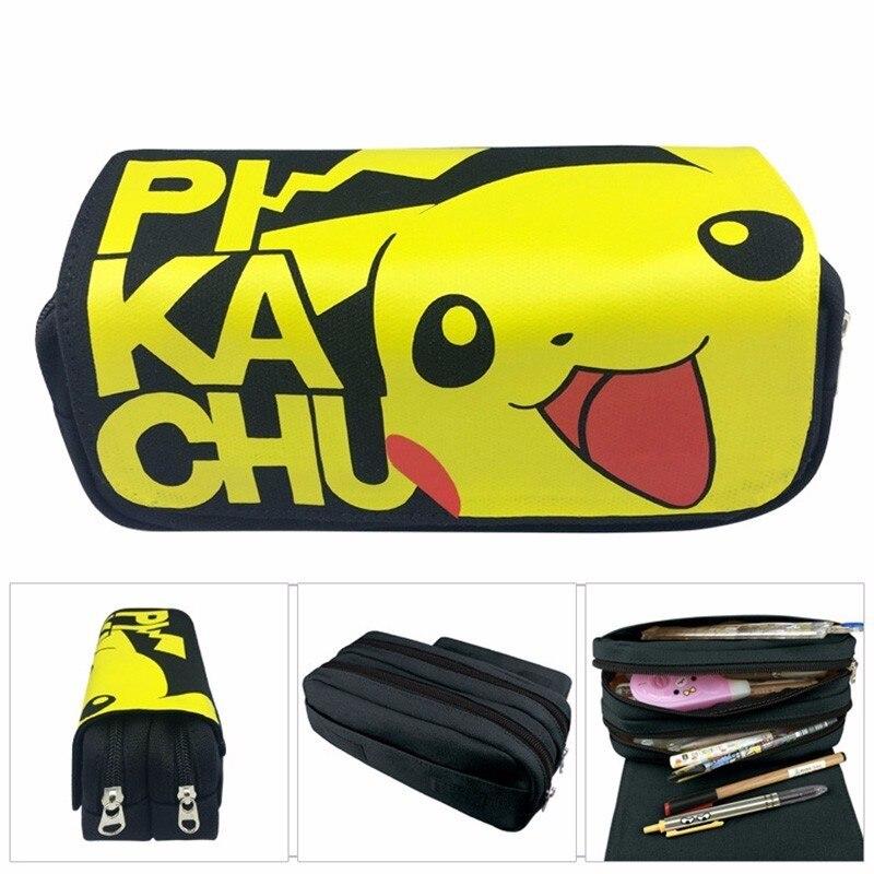 Kawaii Pokemon Pikachu Pencil Case For Girls High Capacity Multifunction Cute Zipper School Pencil Case Office & School Supplies