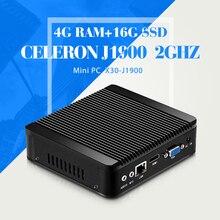 Мини-Компьютер Celeron J1900 N2940 N2930 4 Г RAM + 16 Г SSD + WIFI Безвентиляторный Компьютер 4 * USB 2.0, 1 * USB 3.0 Ultra Thin Mini Table PC