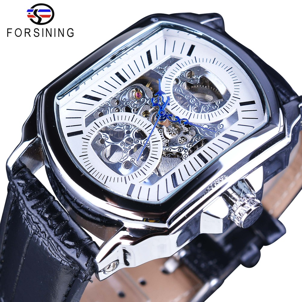 Forsining Retro Classic White Dial Blue Hands Transparent Automatic Skeleton Wristwatch Mens Mechanical Watches Top Brand Luxury