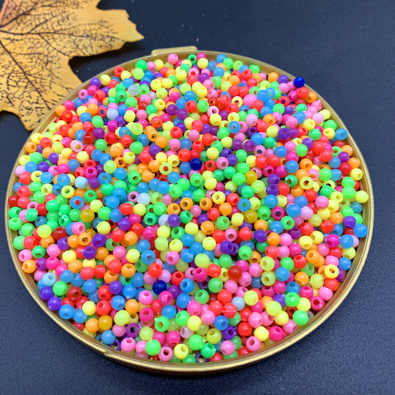 <font><b>1000</b></font>/500 pcs /lot 3/4mm Multi Colors Acrylic Round Beads For <font><b>DIY</b></font> Bracelets & Necklaces Jewelry Makings Accessories#ZV11 image