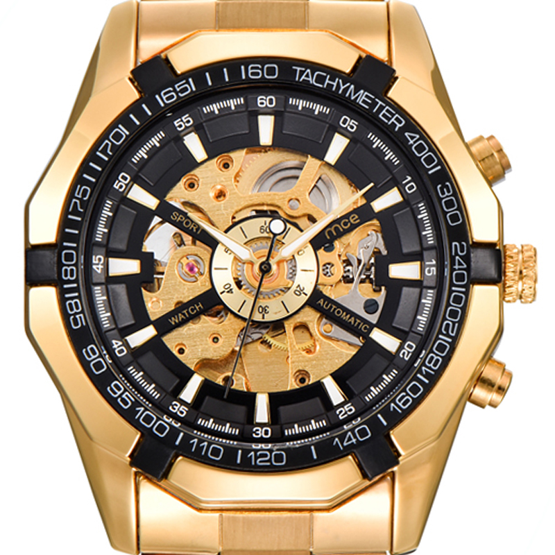 MCE Top Brand Luxury Gold Skeleton Vintage Stainless Steel Band Automatic Mechanical Watch for Men mce luxury fashion gold watch women high quality skeleton mechanical watch full stainless steel water resistant wrist watches