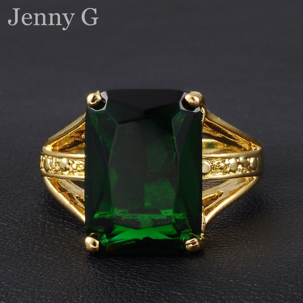 Jenny G Jewelry Size 10 Green Emerald Solitaire 18K Yellow Gold